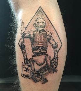 Tattoo d'après Moëbius. Dotwork. Par Raoul